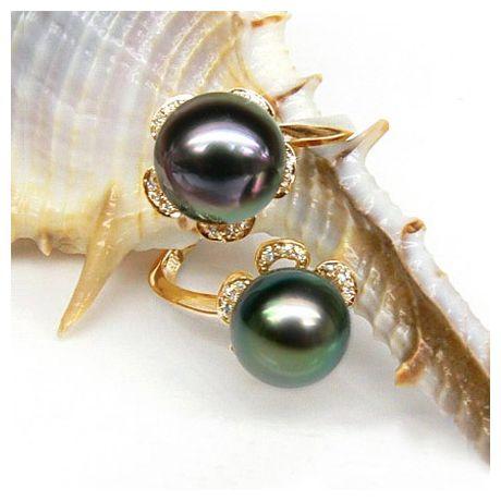 Anello oro giallo - Perle di Tahiti nere, verde, melanzana - 9/9.5mm