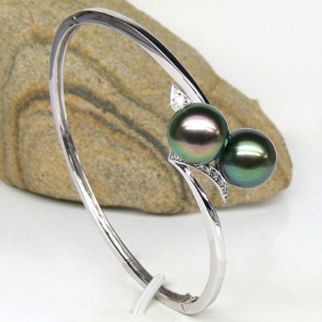 Bracciale rigido oro bianco - Perle di Tahiti nere, pavone, verde - 9/9.8mm