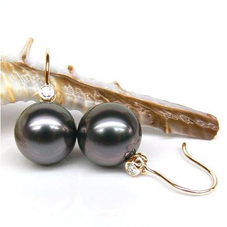 Orecchini - Gancio oro giallo - Perle di Tahiti nere, melanzana - 9/10mm