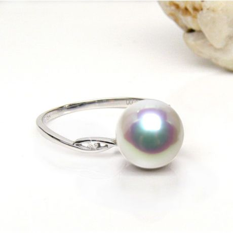 Anello oro bianco, diamanti - Perla Akoya bianca, rosa - 8/8.5mm