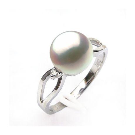 Anello oro bianco, diamanti - Perla Akoya bianca Giappone - 8.5/9mm