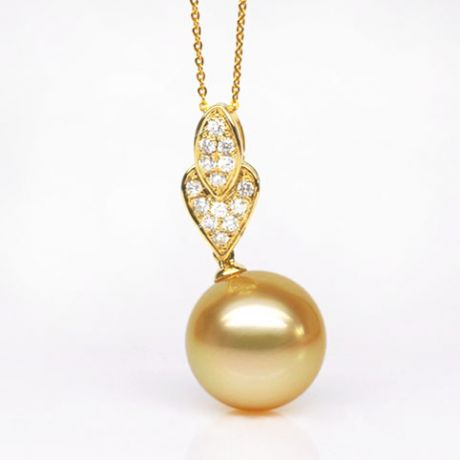 Ciondolo pendente oro giallo - Perla d'Australia dorata - 12/13mm