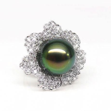 Anello fiore oro bianco - Perla di Tahiti nera, bronzo - 12/13mm
