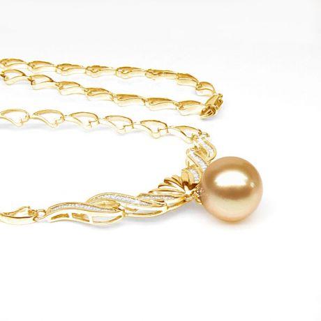 Collana ciondolo oro giallo - Perla d'Australia dorata - 12/13mm
