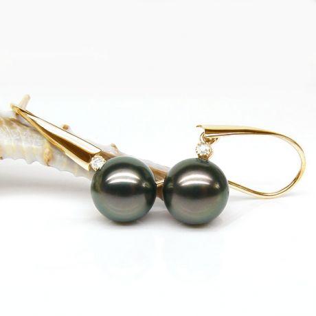 Orecchini - Gancio oro giallo - Perle di Tahiti nere, pavone - 9/10mm