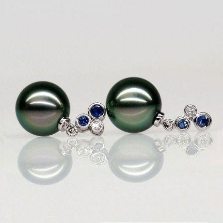 Orecchini - Pendenti oro bianco - Perle di Tahiti nere, verdi - 9/10mm