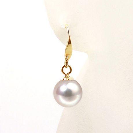 Orecchini perle Akoya bianche. Gancio oro giallo -  7/7.5mm. GEMMA