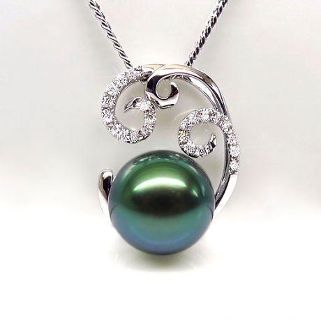Ciondolo oro bianco - Perla di Tahiti nera, blu, verde - 9.5/10mm