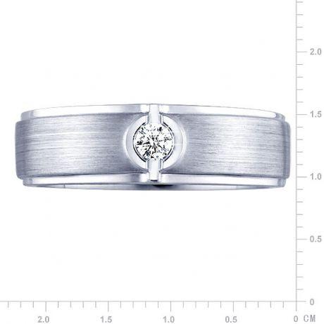 Anello Uomo - Oro bianco 8.46gr - Diamante 0.050ct