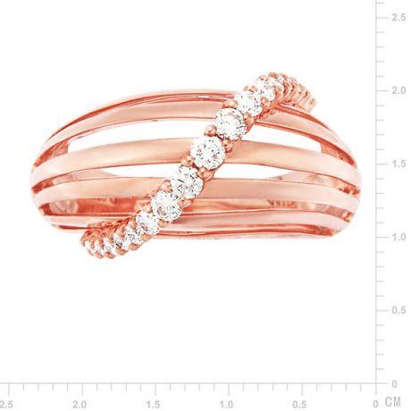 Anello Donna - Oro rosa 5.98gr - Diamanti 0.394ct