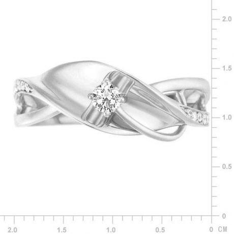 Anello Donna - Oro bianco 3.50gr - Diamanti 0.129ct
