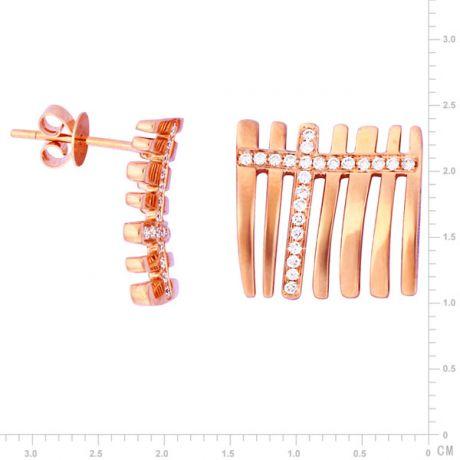 Orecchini - Oro rosa 4.80gr - Diamanti 0.230ct