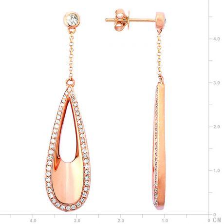 Orecchini - Oro rosa 5.85gr - Diamanti 0.690ct