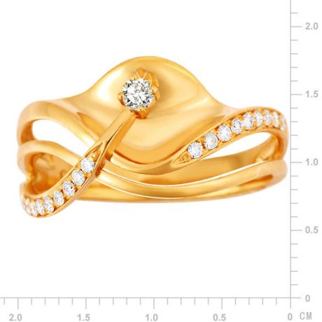 Anello Donna - Oro giallo 3.95gr - Diamanti 0.154ct