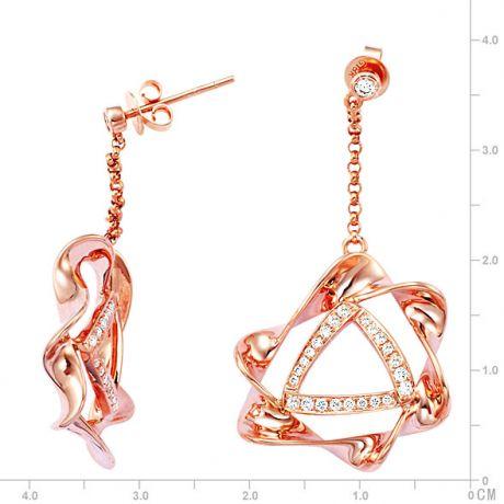 Orecchini - Oro rosa 7.64gr - Diamanti 0.570ct