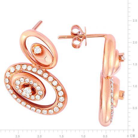 Orecchini - Oro rosa 6.20gr - Diamanti 0.550ct