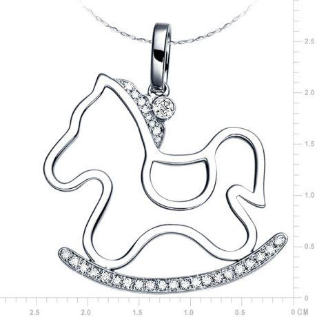Ciondolo - Oro bianco 3.24gr - Diamanti 0.123ct