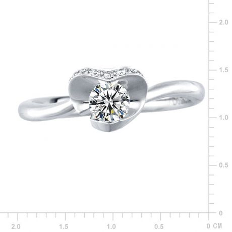 Anello solitario - Oro bianco 2.90gr - Diamanti 0.30ct