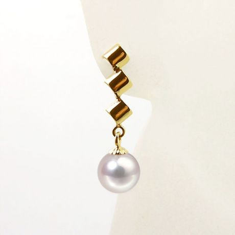 Orecchini perle Akoya bianche. Pendenti oro giallo - 7/7.5mm. AAA