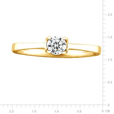 Anello solitario - Oro giallo 2.05gr - Diamante 0.193ct