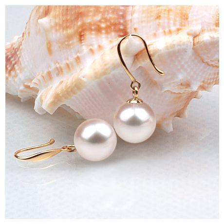 Orecchini perle acqua dolce bianche. Gancio oro giallo - 8/9mm. GEMMA