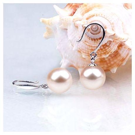 Orecchini perle acqua dolce bianche. Gancio oro bianco - 8/9mm. AAA