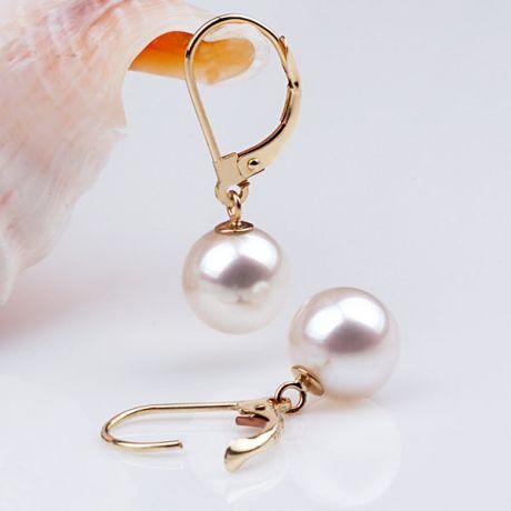 Orecchini perle acqua dolce bianche. Monachella oro giallo - 8/9mm. GEMMA