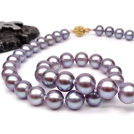 Collana perle acqua dolce lavanda - 7.5/8mm, AAA