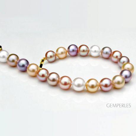 Braccialetto perle acqua dolce multicolore - 7.5/8mm, AAA