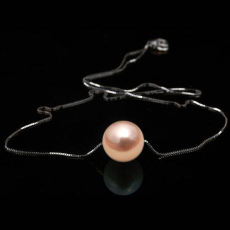 Collana ciondolo oro bianco - Perla d'acqua dolce rosa - 10/11mm