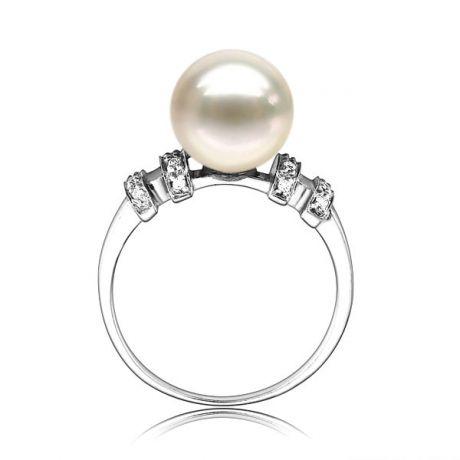 Anello oro bianco, diamanti - Perla Akoya - 8.5mm - GEMMA