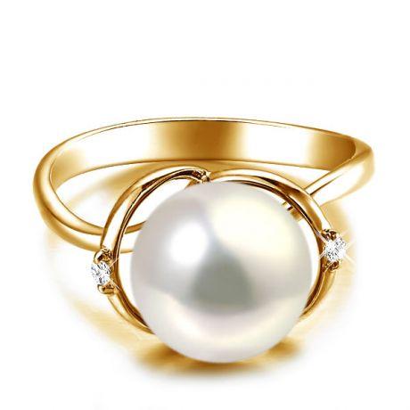 Anello curve oro giallo - Perla acqua dolce bianca - 9/10mm