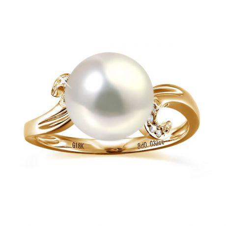 Anello musicale oro giallo - Perla acqua dolce bianca - 9/10mm