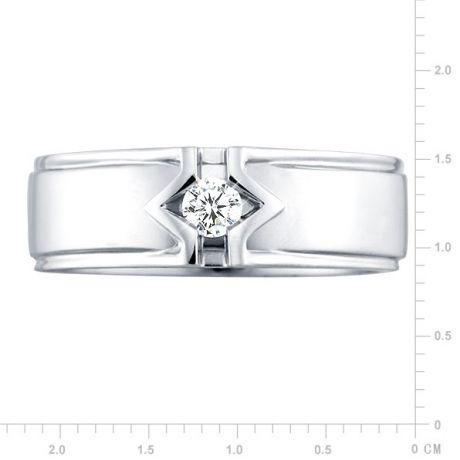 Anello Uomo - Oro bianco - Diamanti 0.145ct