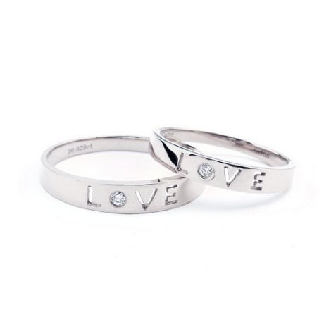 Fedi matrimonio, Fedine -  Oro bianco 6.31gr, Diamanti 0.043ct
