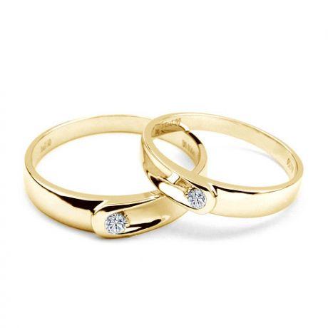 Fedi matrimonio, Fedine -  Oro giallo 4.85gr, Diamanti 0.088ct
