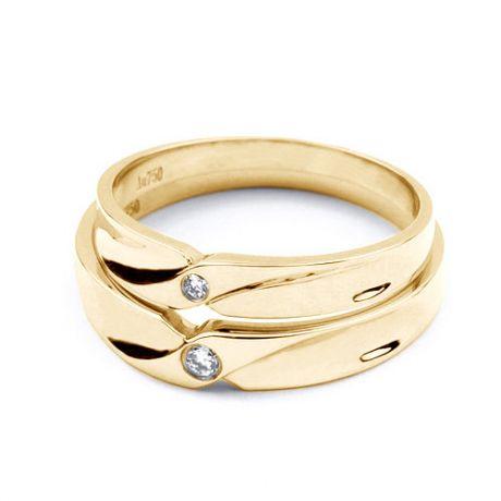 Fedi matrimonio, Fedine -  Oro giallo 5.9gr, Diamanti 0.048ct
