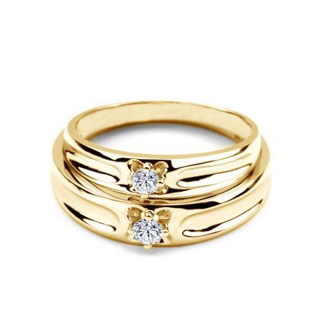 Fedi matrimonio, Fedine -  Oro giallo 4.93gr, Diamanti 0.147ct