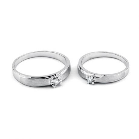 Fedi matrimonio, Fedine -  Oro bianco 5.69gr, Diamanti 0.107ct