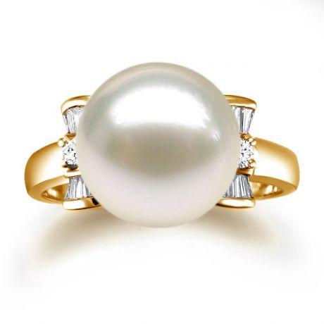 Anello diamantato oro giallo - Perla acqua dolce bianca - 10/11mm