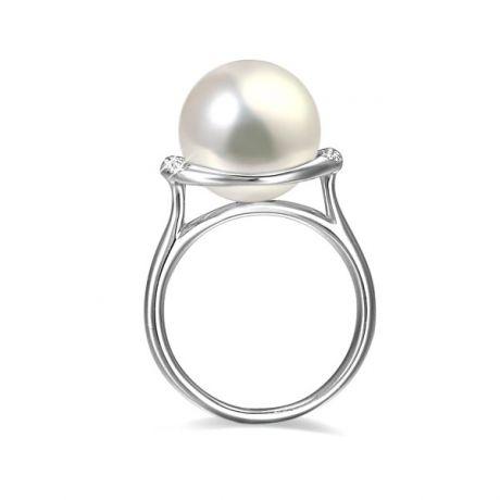 Anello oro bianco, diamanti - Perla acqua dolce bianca - 10/11mm