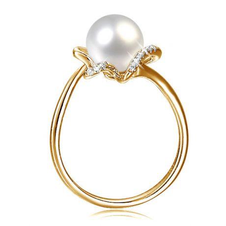 Anello donna - Perla coltivata d'acqua dolce bianca - Oro giallo, Diamanti