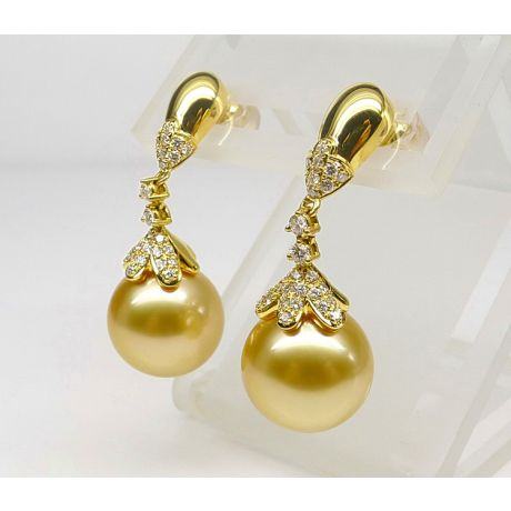 Orecchini perle d'Australia dorate, Pendenti oro giallo - 11/12mm