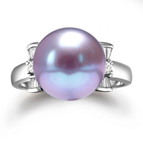 Anello diamantato oro bianco - Perla acqua dolce lavanda - 10/11mm