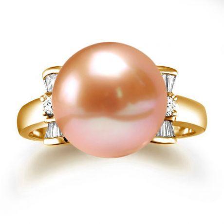 Anello diamantato oro giallo - Perla acqua dolce rosa - 10/11mm