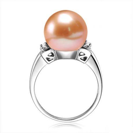 Anello diamantato oro bianco - Perla acqua dolce rosa - 10/11mm