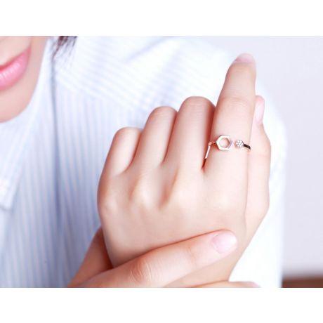 Anello aperto Esagono. Oro rosa 18 carati e diamanti