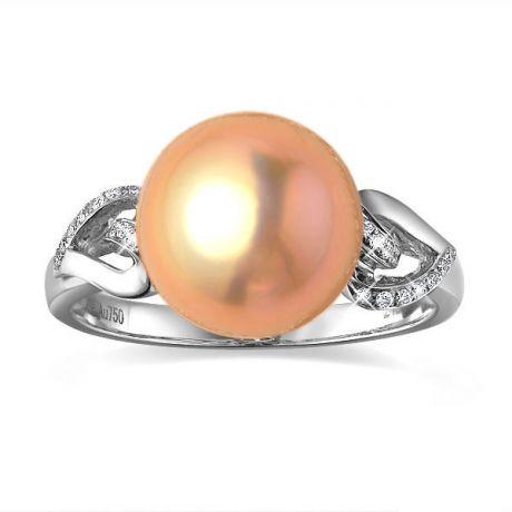 Anello cuori oro bianco - Perla acqua dolce rosa - 10/11mm