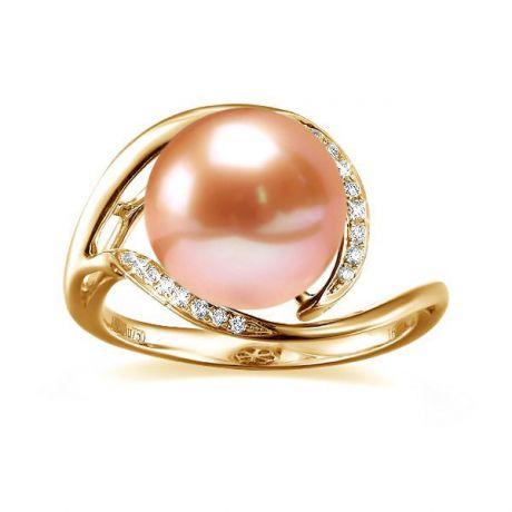 Anello moderno oro giallo - Perla acqua dolce rosa - 10/11mm