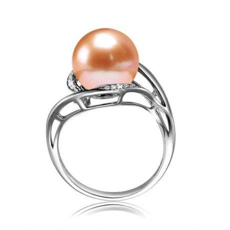 Anello moderno oro bianco - Perla acqua dolce rosa - 10/11mm